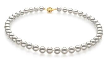 Bianco 9-9.5mm Qualità Hanadama - AAAA - Collana di Perle Akoya Giapponese - Oro Giallo 14k