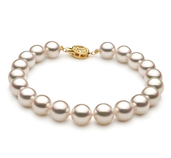 Bianco 8.5-9mm Qualità Hanadama - AAAA - Braccialetto di Perle Akoya Giapponese - Oro Giallo 14k