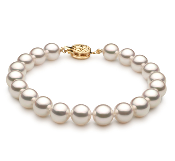 Bianco 7.5-8mm Qualità Hanadama - AAAA - Braccialetto di Perle Akoya Giapponese - Oro Giallo 14k
