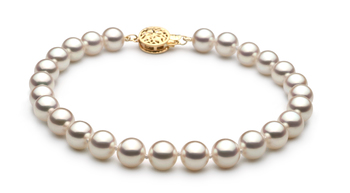 Bianco 6.5-7mm Qualità Hanadama - AAAA - Braccialetto di Perle Akoya Giapponese - Oro Giallo 14k