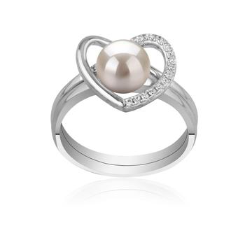 Cuore Bianco 6-7mm Qualità AAAA - Anello Perla di Acqua Dolce - Argento Sterling 925