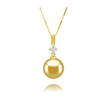 Hilda Oro 10-11mm Qualità AAA - Perla Pendente Dei Mari del Sud - Oro Giallo 14k