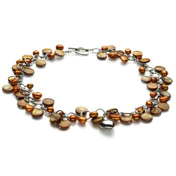 Honey - Perla con ciondoli a cuore Champagne 6-7mm Qualità A - Collana di Perle di Acqua Dolce