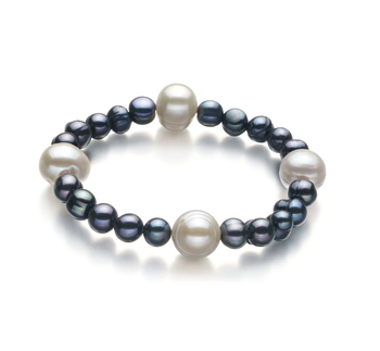 Irina Nero e Bianco 6-11mm Qualità A - Braccialetto di Perle di Acqua Dolce