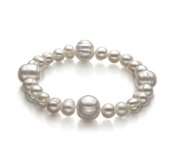 Irina Bianco 6-11mm Qualità A - Braccialetto di Perle di Acqua Dolce