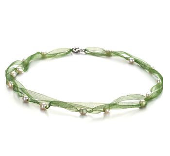 Jasmine Verde Bianco 5-6mm Qualità A - Collana di Perle di Acqua Dolce