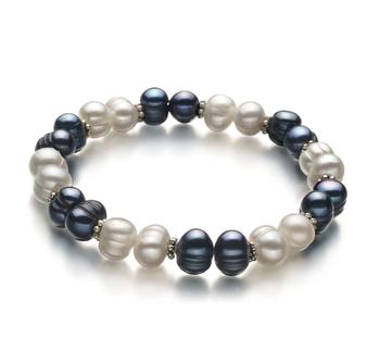 Jemima Nero e Bianco 6-7mm Qualità A - Braccialetto di Perle di Acqua Dolce