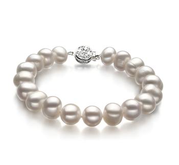 Kaitlyn Bianco 8-9mm Qualità A - Braccialetto di Perle di Acqua Dolce