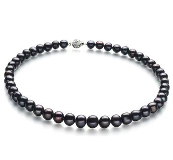 Kaitlyn Nero 8-9mm Qualità A - Collana di Perle di Acqua Dolce