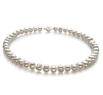 Kaitlyn Bianco 8-9mm Qualità A - Collana di Perle di Acqua Dolce