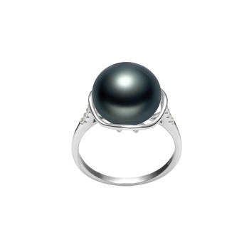 Kalina Nero 11-12mm Qualità AAA - Anello Perla di Acqua Dolce - Argento Sterling 925