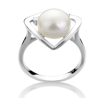 Katie Cuore Bianco 9-10mm Qualità AA - Anello Perla di Acqua Dolce - Argento Sterling 925