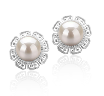 Leonie Bianco 9-10mm Qualità AAAA - Set Orecchini di Perle Acqua Dolce - Argento Sterling 925