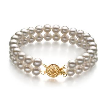 Lola Bianco 6-7mm Qualità AA - Braccialetto di Perle di Acqua Dolce