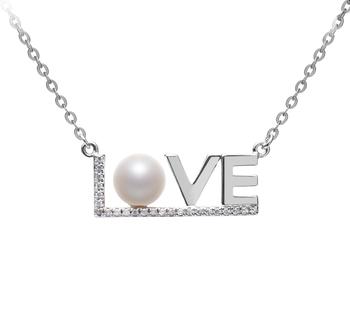 LOVE Bianco 6-7mm Qualità AAAA - Collana di Perle di Acqua Dolce - Argento Sterling 925