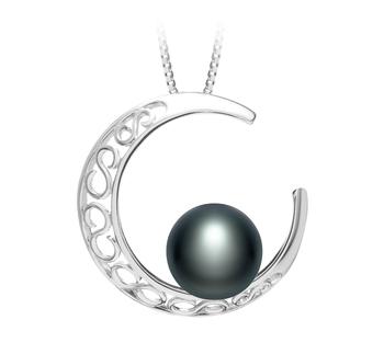 Luna Nero 9-10mm Qualità AAA - Perla Pendente di Acqua Dolce - Argento Sterling 925