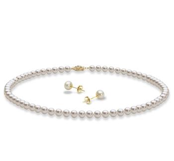 Collana e orecchini Bianco 5-6mm Qualità AAA - Perla Incastonata di Acqua Dolce