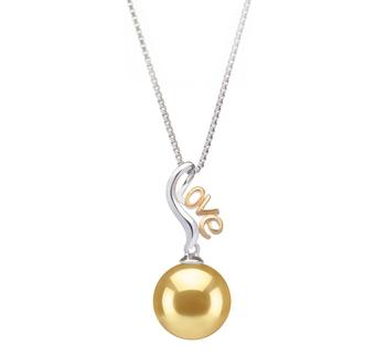 Nelia Oro 10-11mm Qualità AAA - Perla Pendente Dei Mari del Sud - Argento Sterling 925