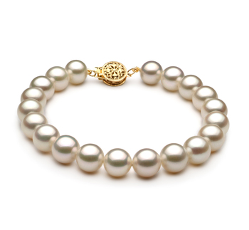 Bianco 8-9mm Qualità AAA - Braccialetto di Perle di Acqua Dolce - Oro Riempito