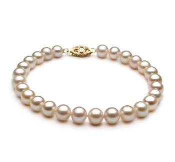 Bianco 6-7mm Qualità AA - Braccialetto di Perle di Acqua Dolce
