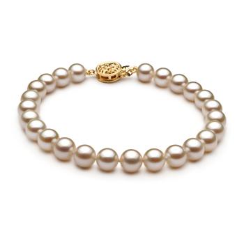 Bianco 6-7mm Qualità AAAA - Braccialetto di Perle di Acqua Dolce - Oro Riempito