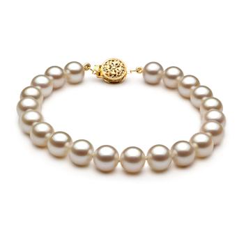 Bianco 7-8mm Qualità AAAA - Braccialetto di Perle di Acqua Dolce - Oro Riempito