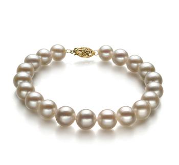 Bianco 8.5-9mm Qualità AA - Braccialetto di Perle di Acqua Dolce - Oro Riempito