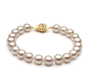 Bianco 7-8mm Qualità AAA - Braccialetto di Perle di Acqua Dolce - Oro Riempito