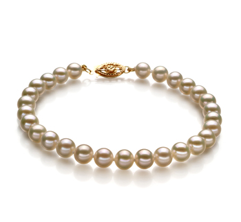 Bianco 5.5-6mm Qualità AAA - Braccialetto di Perle di Acqua Dolce - Oro Riempito