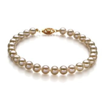 Bianco 5-5.5mm Qualità AAAA - Braccialetto di Perle di Acqua Dolce - Oro Riempito