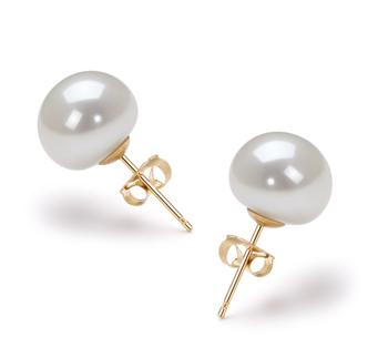 Bianco 9-10mm Qualità AAA - Set Orecchini di Perle Acqua Dolce