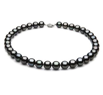 Nero 9.5-10.5mm Qualità AAA - Collana di Perle di Acqua Dolce - Argento Sterling 925