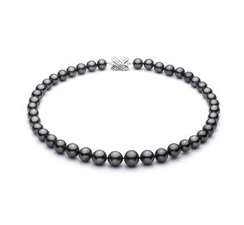 Nero 9.5-11mm Qualità AAA - Collana di Perle Di Tahiti - Oro Bianco 14k