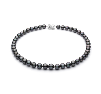 Nero 9.1-11mm Qualità AA+ - Collana di Perle Di Tahiti - Oro Bianco 14k