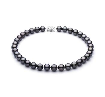 Nero 11.1-11.94mm Qualità AAA - Collana di Perle Di Tahiti - Oro Bianco 14k