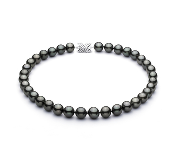 Nero 11.3-12.18mm Qualità AAA - Collana di Perle Di Tahiti - Oro Bianco 14k