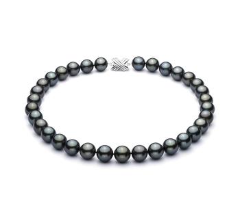 18'' Nero 12-12.93mm Qualità AAA - Collana di Perle Di Tahiti - Oro Bianco 14k