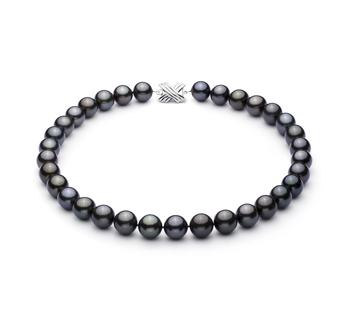 Nero 12-12.89mm Qualità AAA - Collana di Perle Di Tahiti - Oro Bianco 14k