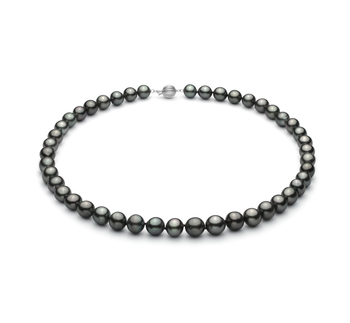 Nero 8-10mm Qualità AA+ - Collana di Perle Di Tahiti - Oro Bianco 14k