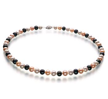 Multicolore 6-7mm Qualità AA - Collana di Perle di Acqua Dolce - Argento Sterling 925