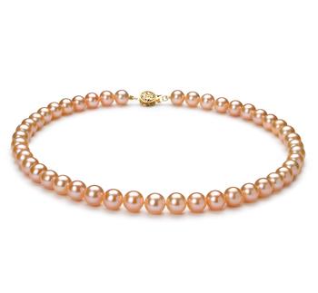 Rosa 8-8.5mm Qualità AAA - Collana di Perle di Acqua Dolce - Oro Riempito