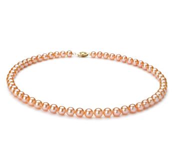 Rosa 6-7mm Qualità AA - Collana di Perle di Acqua Dolce - Oro Riempito