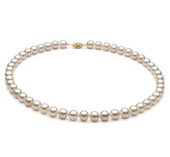 Bianco 7-8mm Qualità A+ - Collana di Perle Akoya Cinese - Oro Giallo 10k