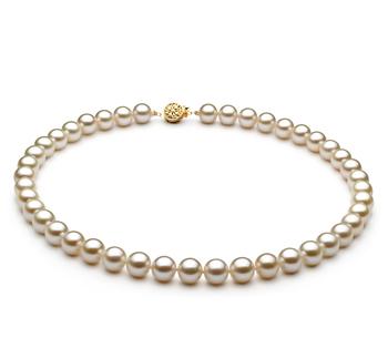 Bianco 8-8.5mm Qualità AAAA - Collana di Perle di Acqua Dolce - Oro Riempito