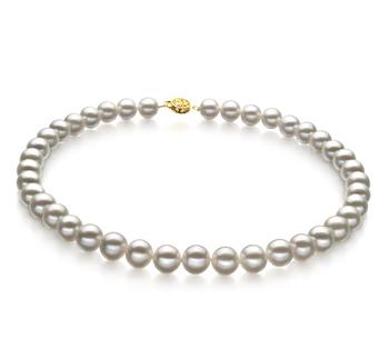 Bianco 9-10mm Qualità AAA - Collana di Perle di Acqua Dolce - Oro Riempito
