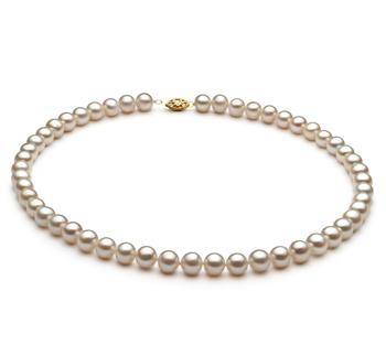 Bianco 6.5-7.5mm Qualità AA - Collana di Perle di Acqua Dolce - Lega