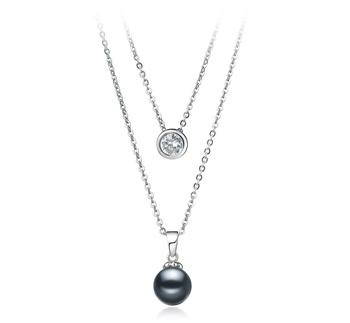 Ramona Nero 7-8mm Qualità AAAA - Collana di Perle di Acqua Dolce - Argento Sterling 925