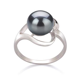 Sara Nero 9-10mm Qualità AA - Anello Perla di Acqua Dolce - Argento Sterling 925