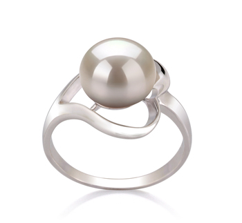 Sara Bianco 9-10mm Qualità AA - Anello Perla di Acqua Dolce - Argento Sterling 925