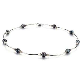 Sofia Nero e Bianco 5-7mm Qualità A - Collana di Perle di Acqua Dolce